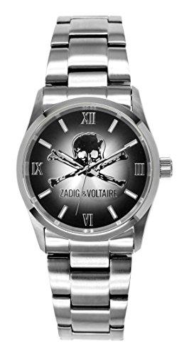 Zadig Voltaire ZV &007/Rock AM-Unisex Watch Analogue Quartz Silver Steel Strap Black Dial