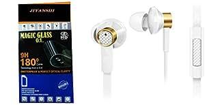 JIYANSHI combo of unbreakable screen guard & earphone white in ear. Compatible for Intex Aqua Dream 2