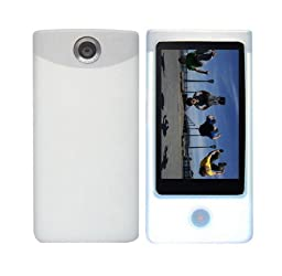 Clear/White Soft Silicone Skin Case + Fishbone Style Keychain for Sony Bloggie Touch (MHS-TS20/MHS-TS10) 4GB 8GB Digital Video Camera Pocket Camcorder