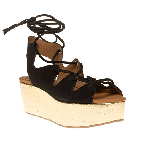 See By Chloe Metallic Wedge Flatform Donna Sandalo Nero
