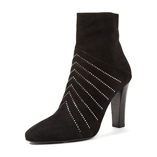 XYD Women Soft Zipper Ankle Booties Black Dress Boots High Heels Size 8.5 Black
