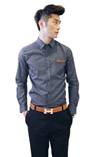 Easy Mens Cowboy Casual Slim Fit Patched Pocket Denim Shirt