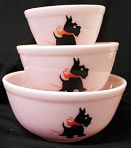 Pink Milk Glass Mixing Nest Bowls W/red Bow Scottie Dogs - Set of 3