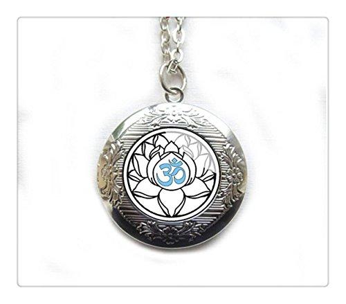 Bianco fiore di loto yoga medaglione ciondolo in argento gioielli, Sacro Lotus Om fiore, Ciondolo, indiano Boho Gioielli, Induismo, Waterlily Bodhi