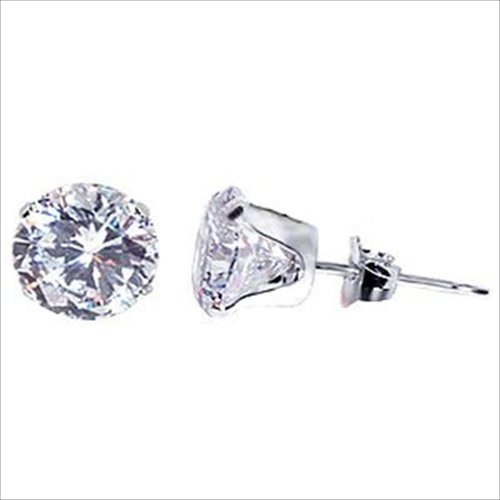 Sterling Silver .925 Cubic Zirconia Stud Earrings 1.00ct 5.00mm
