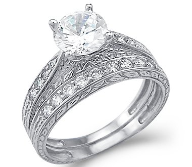 the bridal ring sets size new solid k white gold