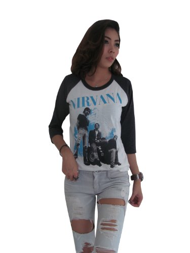 Bunny Brand Women's Rock Band Nirvana Kurt Cobain Group photo Music Raglan T-Shirt (Large, White) (Advance Nutrients Nirvana compare prices)