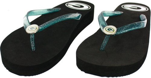 Green Bay Packers Women's Wedge Flip Flop Sandals, Large (9-10) at Amazon.com
