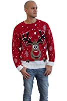 Men's Vintage Reindeer Christmas Jumper crew neck pullover Sweater