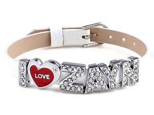 I Love Zayn I Love One Direction White Wristband Bracelet Slider Zircon Crystal Letter by Yiwu City Yinuo E-Commercial Business Co.,Ltd