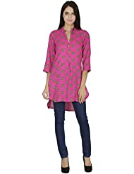 Pinkshink Women's Pink Viscose Printed High Low Kurta