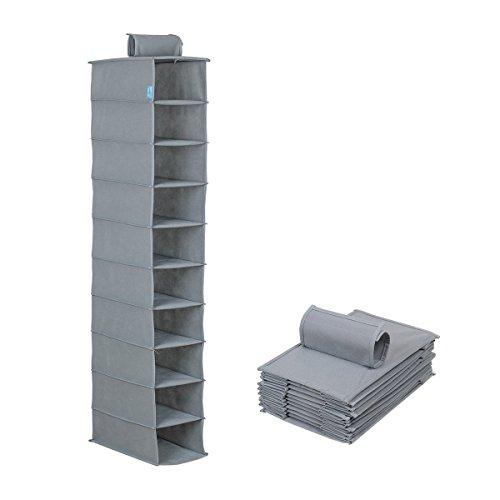 moho & Home 10-shelf Large en tissu à suspendre Rangement étagères armoire, gris