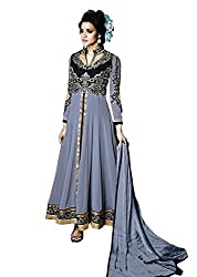 BK ENTERPRISE Women's Grey Georgette And Embroidered Dress (bk-547_freesize)