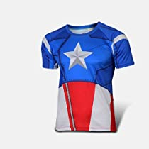 Outdoor Sports Comfortable Cycling Jersey Bicycle Bike Shirts Clothing Suits (captain america style, L)