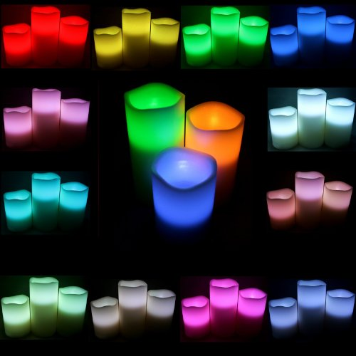 3 Piece Set Of Pillar Wax Multi-Color Remote Controlled Led Candles~Centerpiece, Mantle Or Decoration~Bluedot Trading