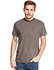 Pure Cotton Twin Striped T-Shirt with StayNEW™