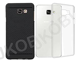 Value Combo of Back case cover Clear TPU and Dotted Designed Soft Rubberised For Samsung Galaxy A7 2016 Edition - Transparent & Black
