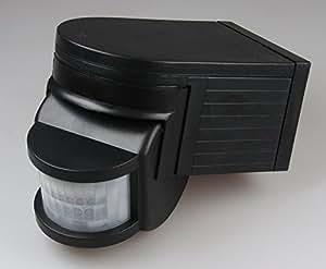 Bewegungsmelder 180°, schwarz, IP44 230V/1000W, 12m Detektion