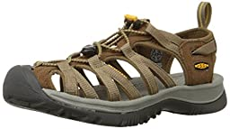 KEEN Women\'s Whisper Sandal,Coffee Liqueur/KEEN Yellow,8.5 M US