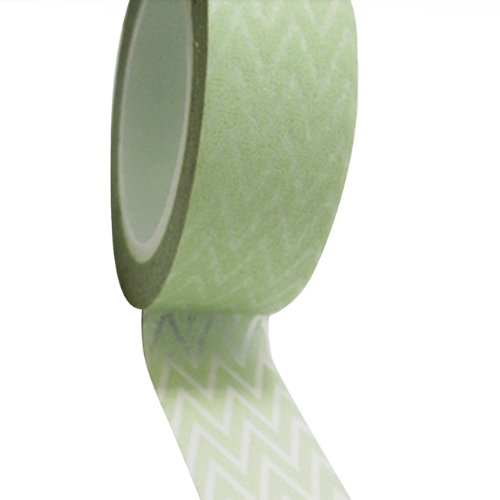 Dress My Cupcake DMC41WT002 Washi Decorative Tape for Gifts and Favors, Mint Green Chevron