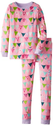 Hatley Big Girls' Bunting Birds Pajama Set, Pink, 10 back-965208