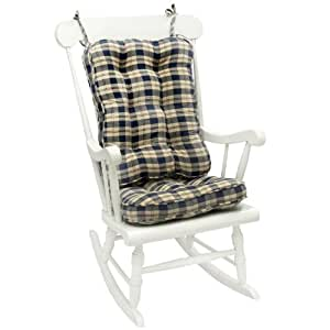 Greendale Home Fashions Applegate Plaid Standard Rocking Chair Cushion Navy