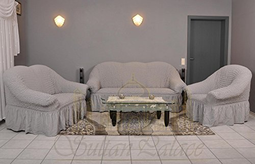 Stretch Sofabezüge 1er+2er+3er (Sesselbezug, Sofabezug, in der Farbe grau)