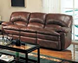 Coaster Coaster Walter Casual Dual Reclining Sofa in Brown Bonded Leather