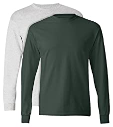 Hanes, 5586, Men\'s, Tagless Long Sleeve Tee, 1 Ash + 1 Deep Forest, Large
