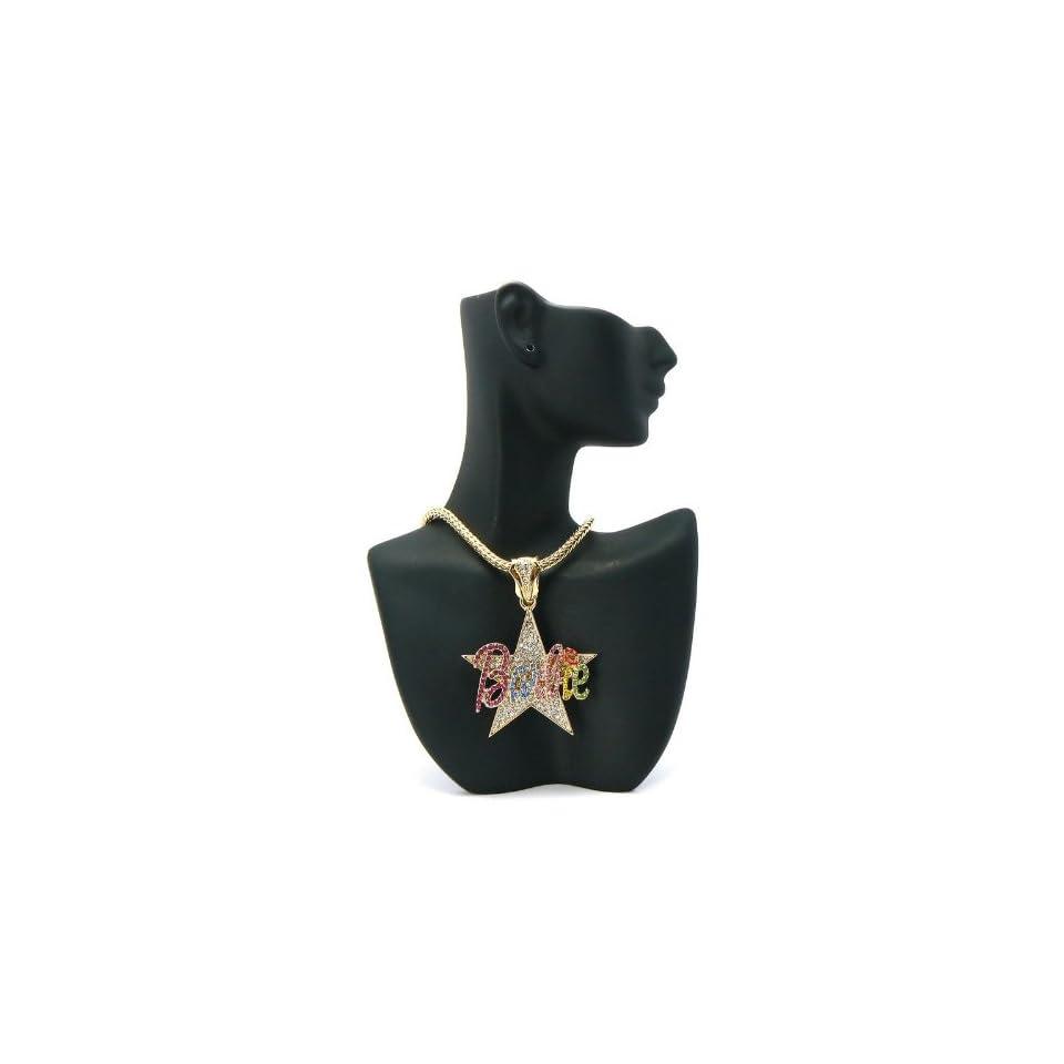 NICKI MINAJ BARBIE Star Pendant w/Franco Chain Gold/Multi MP603