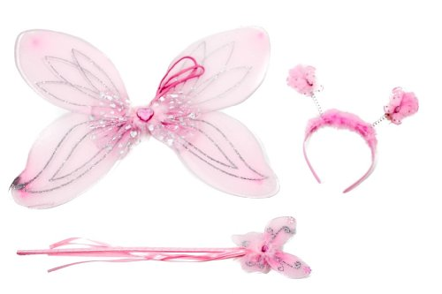 Adorable Girls Fairy Set Including Glittery Wings Butterfly Wand And HeadBand With diamanté Bouncing Butterflies In Pink