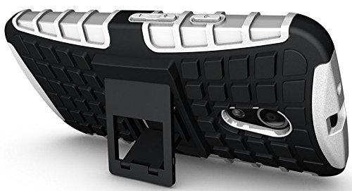 Defender Hard Armor Rubber Bumper Stand Back Case Cover For Motorola Moto G2 G 2nd Gen - WHITE