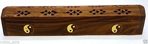 YING YANG - incensario de madera tallada madera maciza velas aromáticas caja de almacenaje con madera de fresno con restos de papel y no y woofers de quemador de esencias