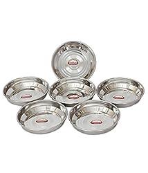 Shubham Designer Steel Plates / Dishes 6 Pcs Set 13 cm Large - B Hlw S6.5
