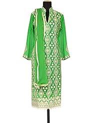 Kalki Fashion Green Unstitched Suit Embellished In Resham Embroidery Only On Kalki