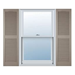 12 in. Vinyl Louvered Shutters in Clay - Set of 2 (12 in. W x 1 in. D x 67 in. H (6.5 lbs.))