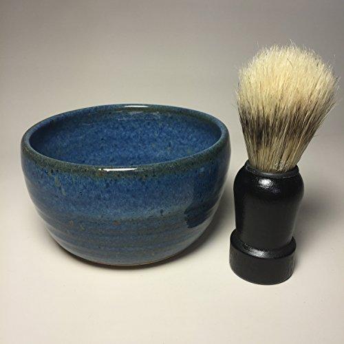 Handmade blue pottery shaving bowl for men home garden for Bathroom accessories for men