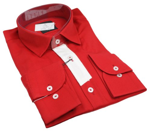 Mens Italian Style Shirt Patch Sleeve Red White Very Slim Fit Smart or Casual