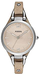 Beige Georgia Three-Hand Leather Watch by Fossil
