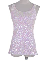 PrettyGuide Women Shimmer Glam Sequin Embellished Sparkle Tank Top Vest Tops