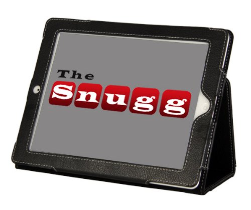 Snugg iPad 3 Case - The New iPad 3rd Generation Leather Case Cover and Flip Stand with Elastic Hand Strap, Stylus loop, Premium Nubuck Fibre Interior and Velcro Flap to Secure your iPad in Place (Black) - Automatically Wakes and Puts the iPad 3 to Sleep - From Snugg, The Creators of the Number 1 Best Selling iPad 2 Case