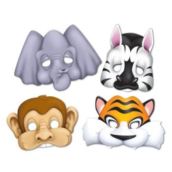 Jungle Animals Paper Masks 4 Per Pack