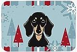 Vacances d'Hiver lisse noir et brun clair motif teckel Souris Pad, Hot Pad ou Dessous de Plat bb1711mp...