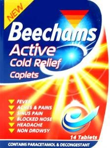 Beechams Active Cold Relief Caplets (14 tablets with paracetamol and decongestant)