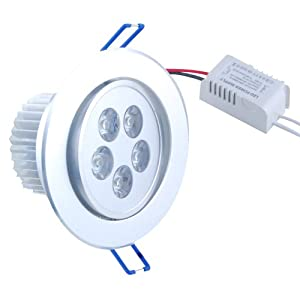 THG 5W 5 LED 500LM Warm White Round Recessed Roof Ceiling Cabinet Light Lamp Bulb Downlight 100V - 240V+ LED Driver by Energy Saving LED Reccessed Ceiling Light Lamp