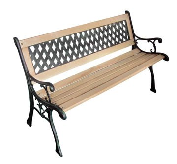 Garden Bench with Diamond-patterned Backrest