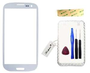 Mondpalast Blanc White Ecran Vitre Externe Glass Pour Samsung Galaxy S3 GT-i9300 GT-i9305 i9300 i9305 Outil Kit + boite + ruban adhésif