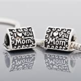 Pandora Style Antique Silver Plated I LOVE YOU MOM Bead ONLY*Fits Pandora, Chamalia, Biagi