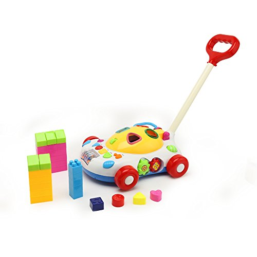 Loowan Multifunctional Learning Cognitive Building Blocks Musical Baby Walker Push And Pull Baby Toys (Building Block Baby Walker compare prices)