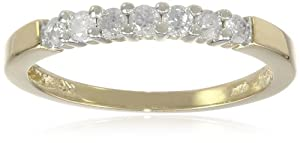 10k Yellow Gold Round 7-Stone Diamond Ring (1/4 cttw, H-I Color, I2-I3 Clarity), Size 6